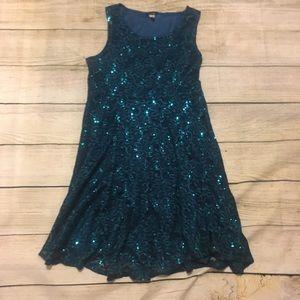 ModCloth Turquoise Lace Sequin Dress